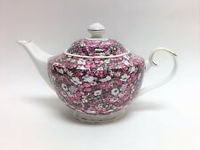 GRACE'S TEAWARE WHITE+MULTI COLOR FLOWER+GOLD TRIM CERAMIC TEA+COFFEE POT,TEAPOT