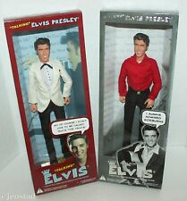 "2 LOT ELVIS PRESLEY TALKING 12"" FIGURES DOLL WHITE DRESS SUIT & RED BLACK OUTFIT"