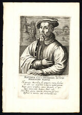Antique Portrait Print-MATHYS COCK-PAINTER-Hondius-1618