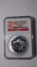 2012 P Australia $1 Chinese Lunar Year of The Dragon 1oz Silver Coin NGC MS70 ER