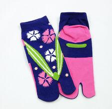 Ninja Japanese Cotton Tabi Socks PINK/BLUE Flip Flop Geta Geisha Unisex SENIOR