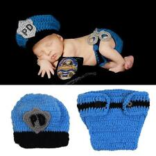 Cute Crochet Newborn Baby Police Outfit Hat Knitted Photo Props Infant Costume