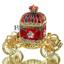 Rhinestone Carriage Metal Trinket Box Jewelry Ring Holder Collectables Lady Gift