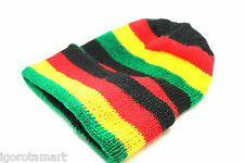 Unisex Knit Ski Cap Afro Jamaican Rasta Stripe Winter Warm Unisex Hat