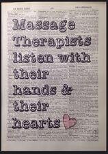 Terapeuta de masaje citar Vintage Diccionario página Pared Impresión de Arte Imagen Belleza