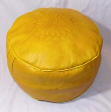 NEW ETHNIC FAIR TRADE YELLOW MOROCCAN LEATHER POUFFE FROM MARRAKESH
