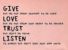 GIVE LOVE TRUST LISTEN MOTIVATION TYPOGRAPHY QUOTE ART PRINT POSTER QU244A