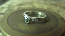 14K Natural white gold handmade ring set with Tourmaline and 2 small diamonds