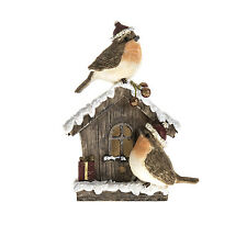 Robins and House Ornament Figurine Robin Birds Bronze Home Snow Luxury