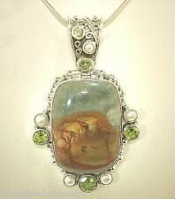 37mm Sterling Silver Mixed Gems Picture Jasper Peridot Cultured FW Pearl Pendant