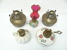 Vintage Lot Used Ceramic Metal Kerosene Gas Lamp Burner Reservoir Lighting Parts