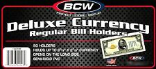 50 Regular Dollar Bill Currency Semi Rigid Holders - Sleeve Protectors - Mailer