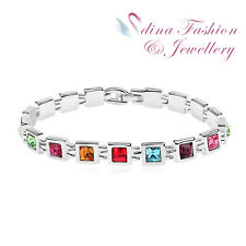 18K White Gold Plated Made With Swarovski Crystal Multicoloured Square Bracelet