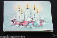 Vintage Unused Mid Century Glitter Xmas Greeting Card Holiday Candle Centerpiece