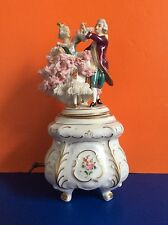 Rare Dresden Alka Porcelain Lace Figurine of Dancing Couple & Music Box, Marked.