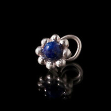 Ornate Silver Lapis lazuli Nose Stud 0.6mm Wire Tribal Body Jewellery (code 1)