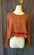 LILITH FRANCE ART TO WEAR RED BEIGE STRIPED BUTTON DOWN CROP TOP CARDIGAN SIZE M