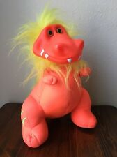 "MyKids Neon Orange Dinosaur Troll Plush 12"" Yellow Hair Plastic Face"