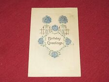 1911 Birthday Greetings Postcard Embossed Blue Bouquets Posted VG