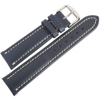 22mm Mens Fluco Chrono Nabucco Smooth Blue Leather German Made Watch Band Strap