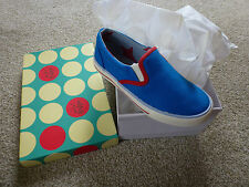 Boys MINI BODEN Brand New in Box Blue Canvas slip on Shoes Size 31 (12/13)