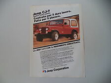 advertising Pubblicità 1982 JEEP CJ7 CJ 7 CJ-7