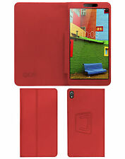 """ACM-EXECUTIVE LEATHER FLIP CASE for LENOVO PHAB 6.98"""" TABLET COVER STAND - RED"""