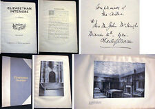 1930 CHARLES DUVEEN SIGNED INSCRIBED ELIZABETHAN INTERIORS ARCHITECTURE DECOR +