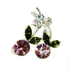 w Swarovski Crystal HOT sexy ~Purple Juicy CHERRY~ Fruit Pin Brooch Jewelry Gift
