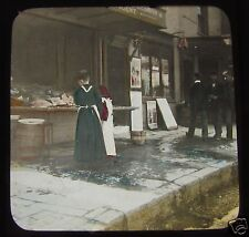 Glass Magic lantern slide VICTORIAN FISH SHOP C1890 VICTORIAN SOCIAL HISTORY