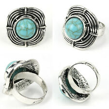 Women Turquoise Green Exaggerated Vintage Silver Ring Band Adjustable lem
