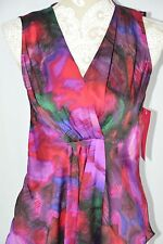 Sunny Leigh Women Petite Small PS Colorful Tank Top Loose Wrap Shirt V-Neck