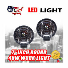 "PACK OF 2 - 45W ROUND 7"" INCH LED WOKR LIGHT USE OFFROAD CAMPING MARINE FISHING"