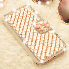 Luxury Crystal Bling Diamond Flip Leather Case Wallet Cover For iPhone Samsung