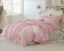 Simply Shabby Chic Pink Ruffle Duvet Cover 3pc Set ~ Full / Queen