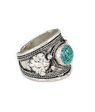 Turquesa Tibetana Opalite Azul Baratija Anillo-Vintage Plata Joyería-Amuleto de ópalo