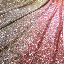 "OMBRE' Baby Pink Silver Full Sequin 100% Poly 2 W Stretch Pink Mesh Fabric 60""w"