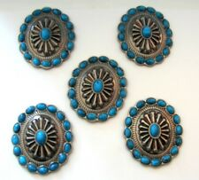 "5-1.75"" Oval Antique Turquoise Blu Concho for Headstall Saddle spurs Chaps Craft"