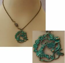 Green & Gold Alice in Wonderland Necklace Jewelry Handmade NEW Chain Accessories