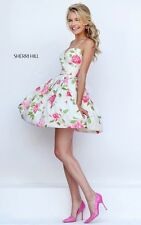 SHERRI HILL DESIGNER PROM DRESS Short Floral Pink Ivory Pockets Size 6 New £370