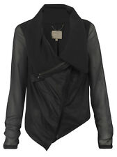 Muubaa Maldini Black Lined Drape Leather Cardigan. RRP £275. M0341. UK 10.