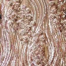 """Champagne River of Flowers Sequin on 2 Way Stretch Mesh Fabric 54"""" W By the Yard"""