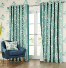 NEXT Retro Floral Print Teal Blue 100% Cotton Eyelet Curtains 228 x 229cm 90x90""