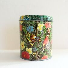 Vintage Floral Birds Tin Round Metal Metalware Can Candy Flowers