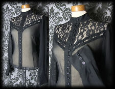 Gothic Black High Neck Lace Bib GOVERNESS Sheer Blouse 6 8 Victorian Vintage