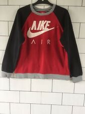 WOMENS TRASHED VINTAGE RETRO RED NIKE AIR FESTIVAL SWEATSHIRT SWEATER UK 10