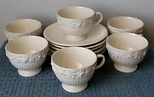 "Wedgwood Embossed Queens Ware ~ 6 FOOTED CUPS ~ plus 6 Wedgwood ""EDME"" SAUCERS"
