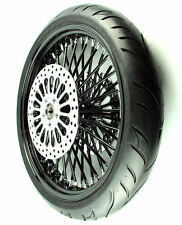 Black 21 X 3.5 52 Fat Spoke Mammoth Front Wheel 120 Tire Package Harley Touring
