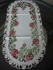 "16""x72"" Embroidered TableClothes Dining Table Runner cutwork design Spring Roses"