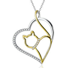 925 Sterling Silver Gold Cat in the Open Eternity Heart CZ Necklace Pet Pendant